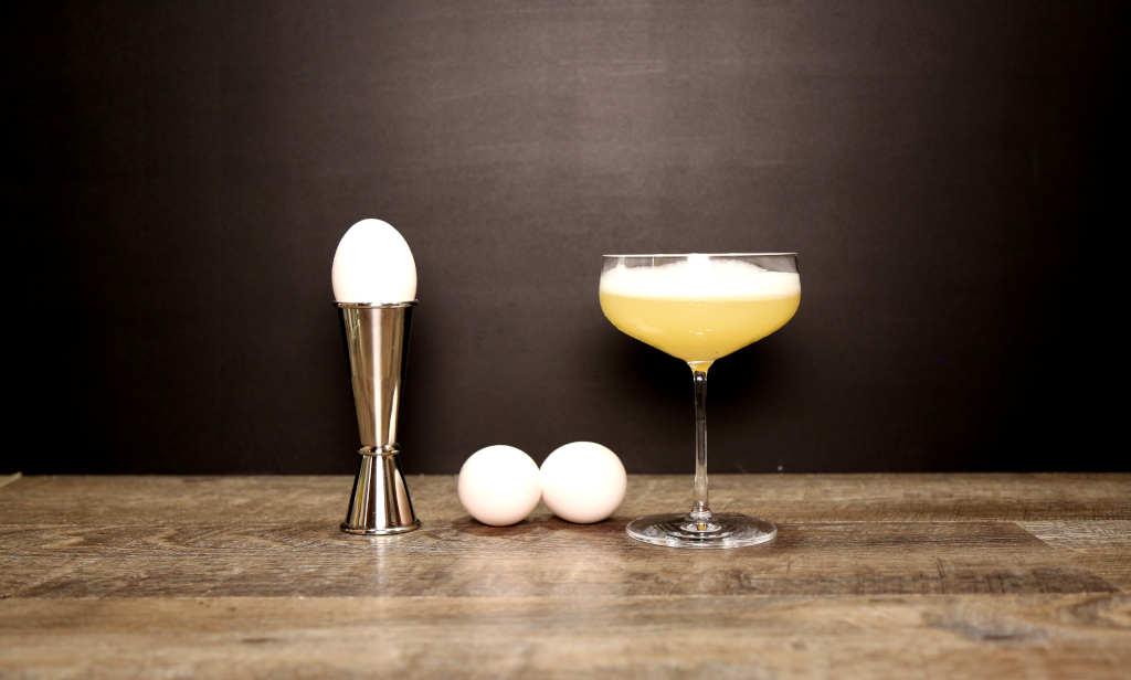 Eggs next to an Egg White Cocktail
