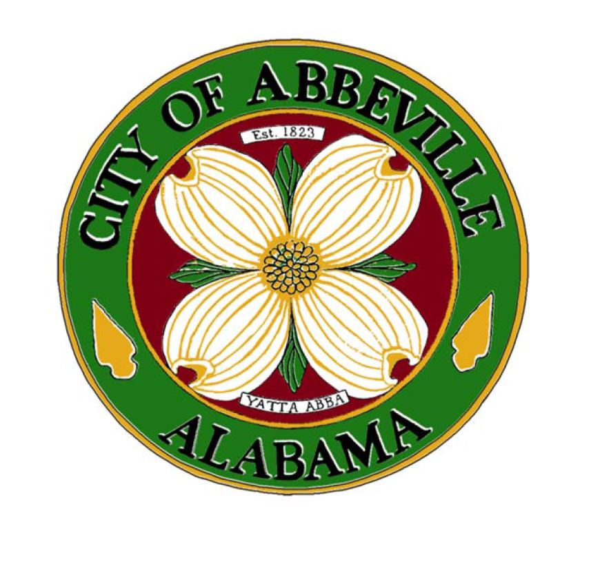 "Logo for city of Abbeville.  Shows a picture of a flower, with the words ""Est 1823"" above, ""Yatta Abba"" below, and ""City of Abbeville Alabama"" around the rim."