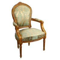 Mill Collection Louis XV Straight Leg Blue Upholstered ...