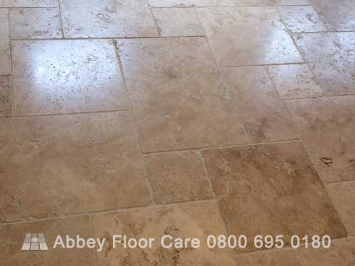 sealing tumbled travertine tiles with impregnating sealer Abbey Floor Care 0800 695 0180