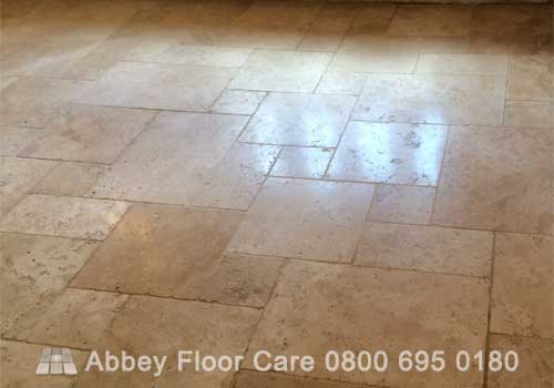 light polishing tumbled travertine to enhance th appearance and make it easire to clean
