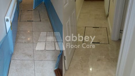 marble polishing warwickshire before and after - abbeyfloorcare.co.uk