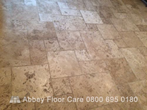 cleaning tumbled travertine tile in Brassington Matlock Derbyshire