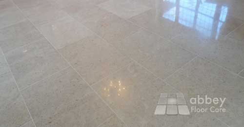 beautiful limestone floor after being polished