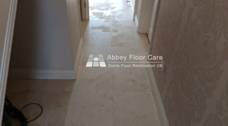 travertine tiles in balderton newark with grout filled holes