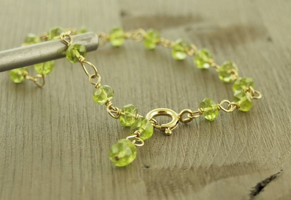 Peridot Bracelet 14k Gold Fill Wire Wrapped Rosary Chain Links Faceted Lime Green Natural