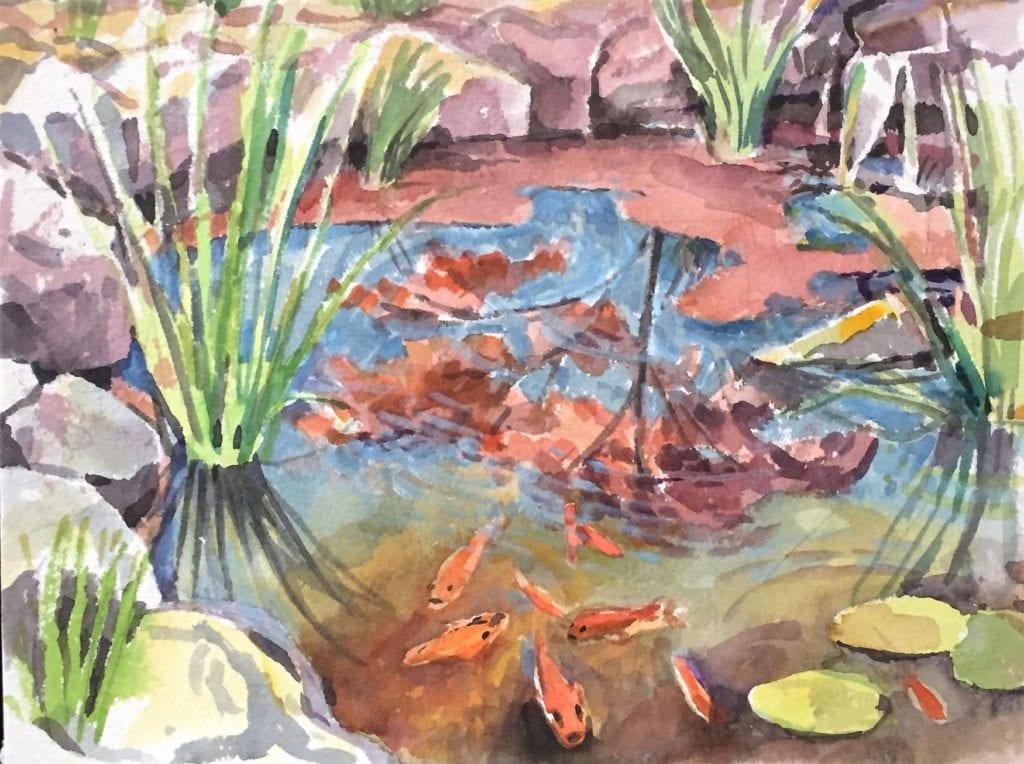 Koi Pond watercolor painting by Abbie Rabinowitz
