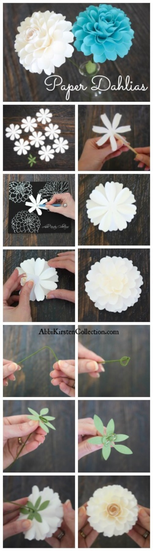 How to make paper dahlia flowers. Easy small paper flower tutorials.