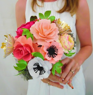 paper wedding bouquet DIY, how to DIY a paper bouquet, how to stem a paper flower