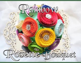 Rainbow Rolled Rosette Paper Flower Bouquet- DIY Paper flower Bouquet