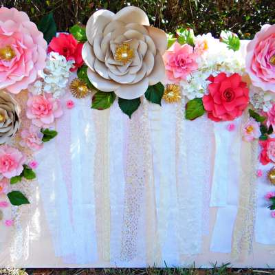Easy Paper Flower Backdrop Assembly
