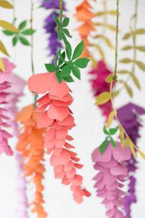 Hanging paper wisteria template and tutorial.