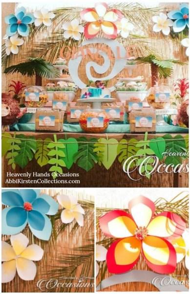 Hawaiian giant paper flower tutorial for a Moana luau birthday party backdrop.