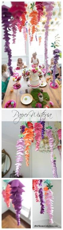 DIY paper wisteria. Fairy party decor ideas.