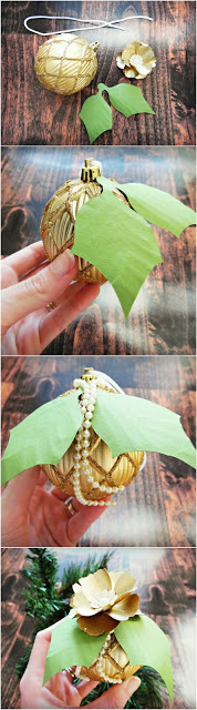 Christmas ornaments with paper flowers