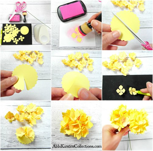 Paper flower hydrangeas. DIY paper flowers. Paper flower bouquet. Wedding flowers.