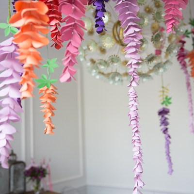 Paper Hanging Wisteria- DIY Paper Flowers