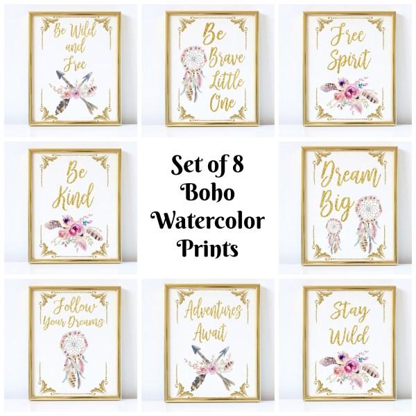 boho watercolor prints