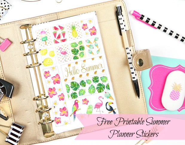 Free Printable Tropical Summertime Planner Stickers