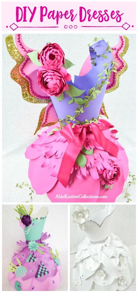 Paper dress templates. Paper dress DIY tutorial.