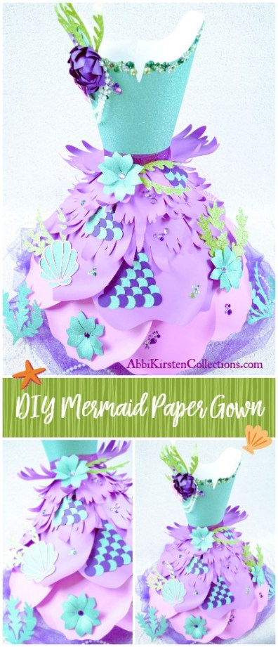 Paper Dress Template: How to Make a Paper Dress - DIY Tutorial. DIY Mermaid Paper Dress. Mermaid under the sea party decor ideas.