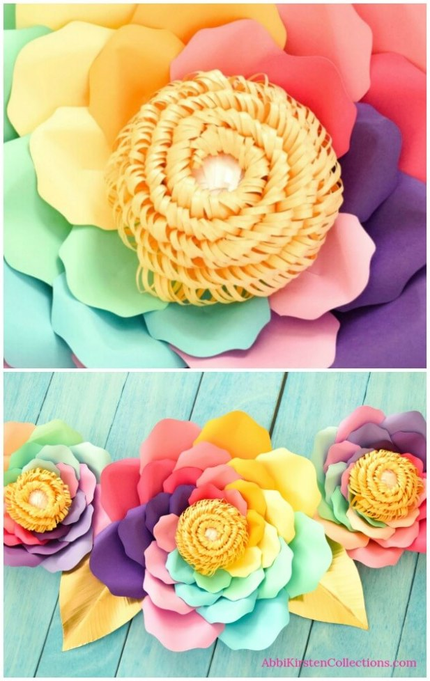 Large rainbow paper flowers.