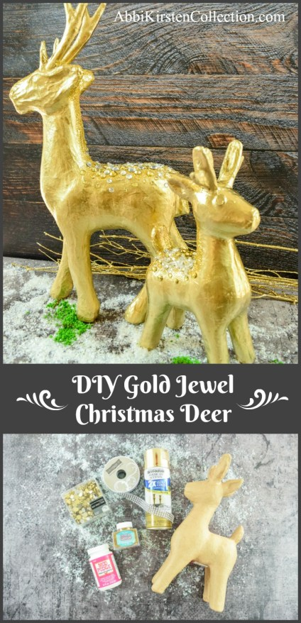 DIY Gold Jewel Christmas Deer Craft