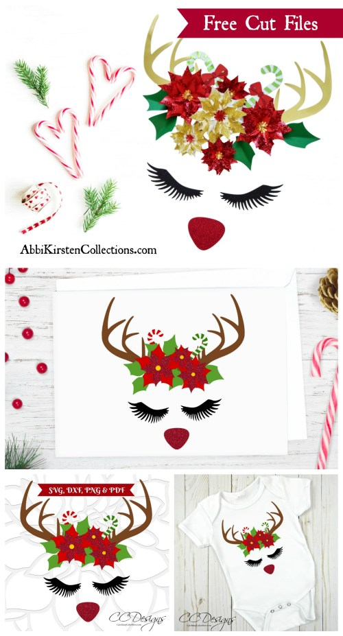 FREE Reindeer Cut File & Poinsettia Template