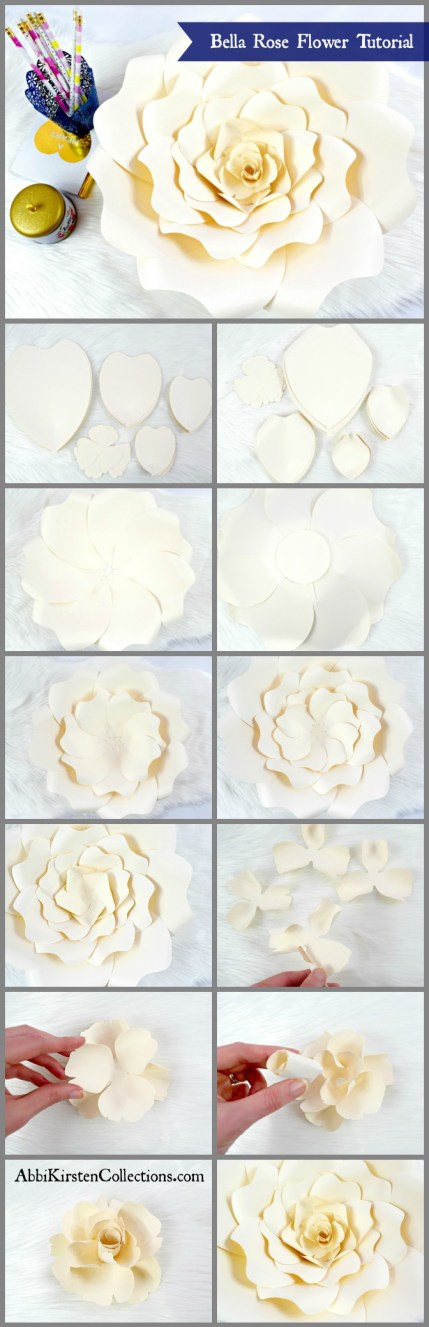 DIY Paper Rose Tutorial - How to make large paper roses
