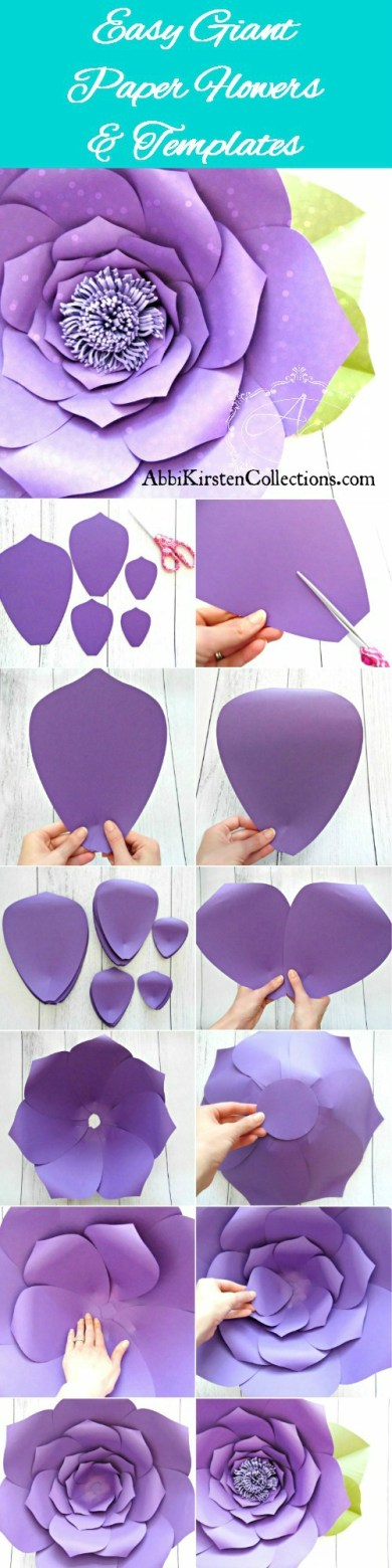 Easy giant paper flower tutorial. Free printable large paper flower template.