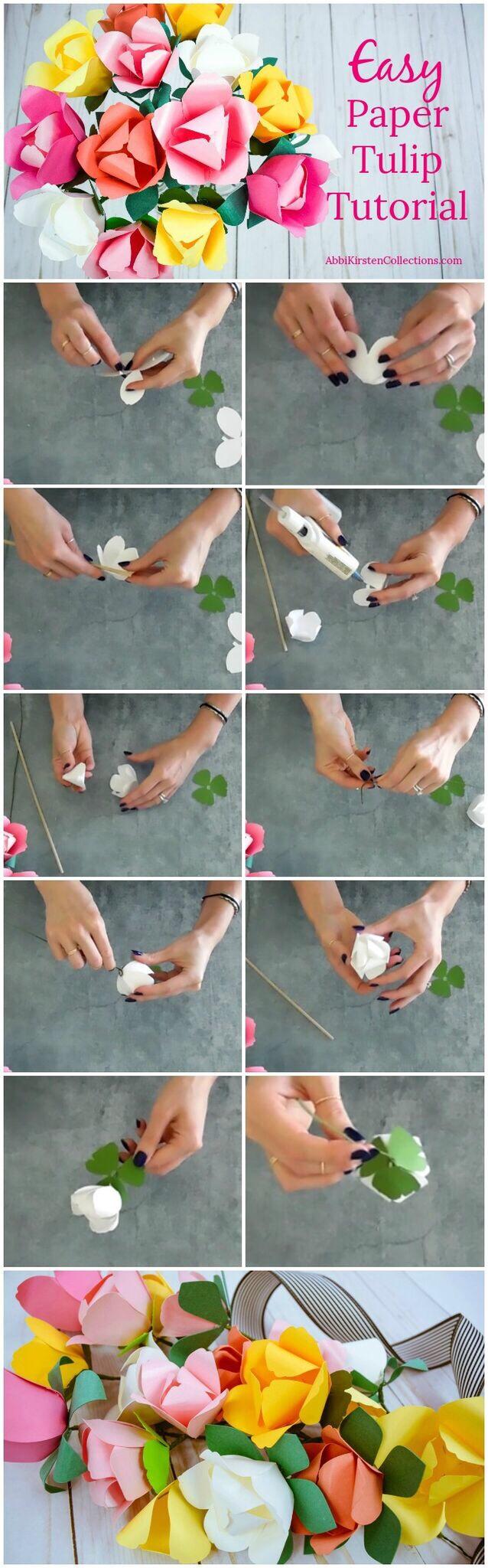 Easy paper tulip tutorial.