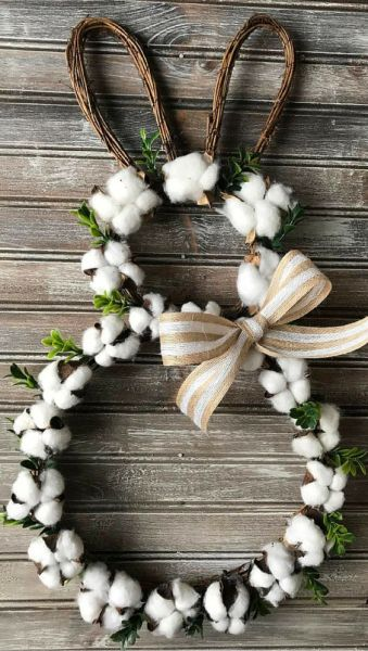 The Best 15 Spring Easter Decorations for 2018 - Easter Bunny Cotton Wreath