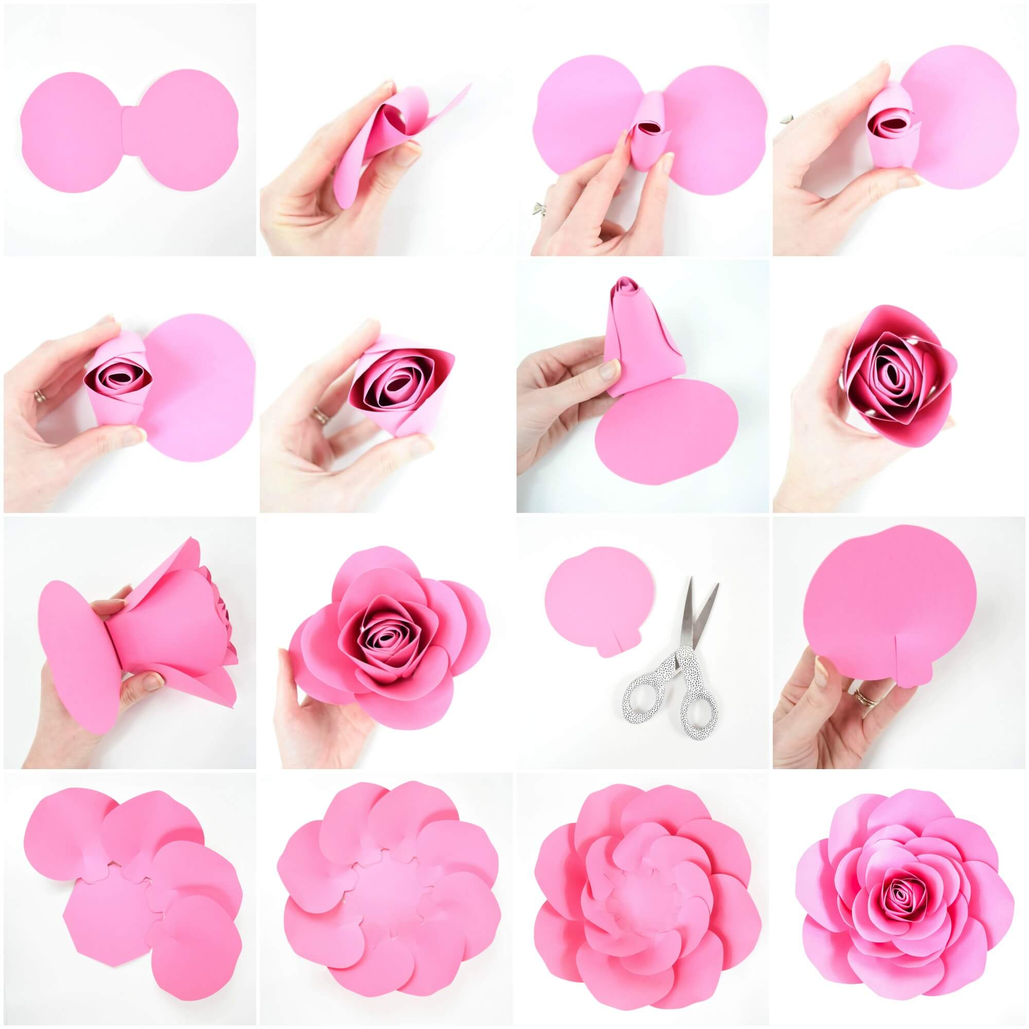 photo about Printable Paper Flower Template identified as Free of charge Heavy Paper Rose Template: Do-it-yourself Camellia Rose Guideline