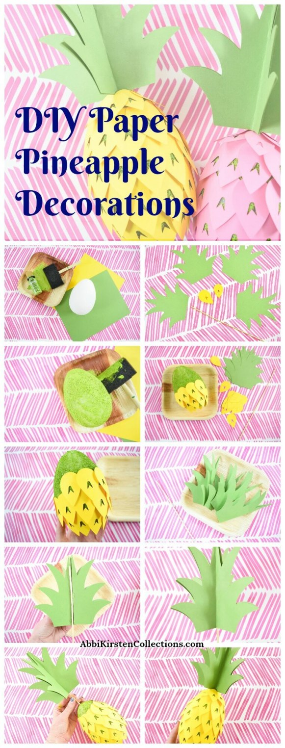 How to Make Paper Pineapple Party Decorations: Free DIY Paper Pineapple Template