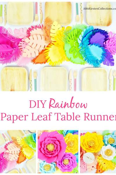 DIY Flower Table Runner: Ombre Rainbow Paper Flower Table Runner for Hawaiian party decorations