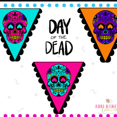 Day of the Dead Sugar Skulls Printable Banner