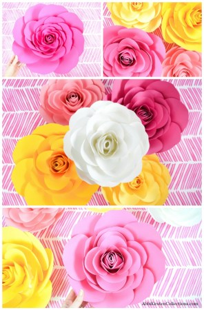 Large free paper rose template.