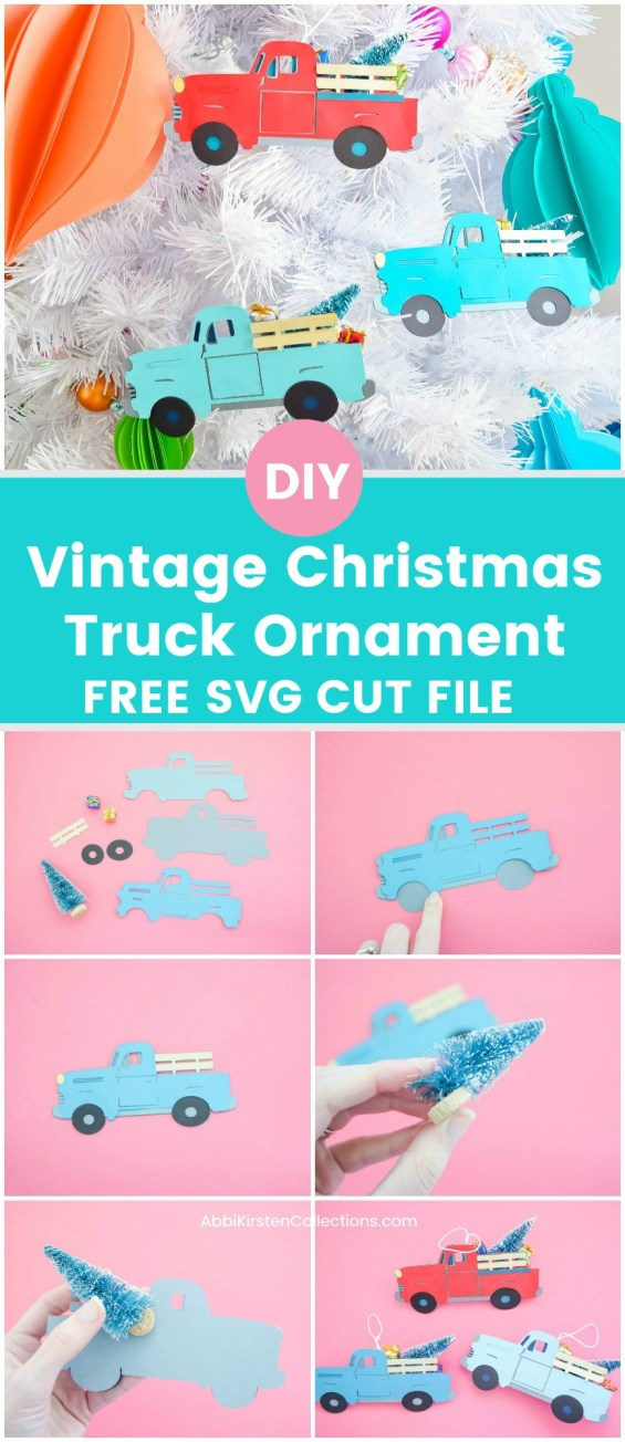 Vintage Christmas Truck Free SVG Cut File