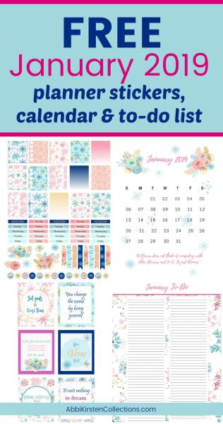 free printable planner stickers. January winter inspired planner stickers. Download for free.