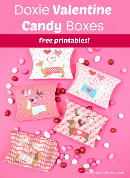 Free printable Valentines for kids. Candy pillow boxes