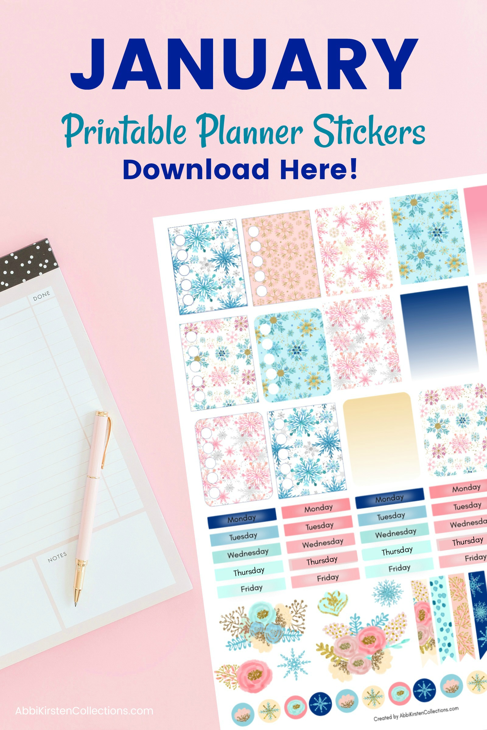 graphic about Free Printable Stickers identify No cost Planner Stickers: Wintertime Printable Planner Stickers for