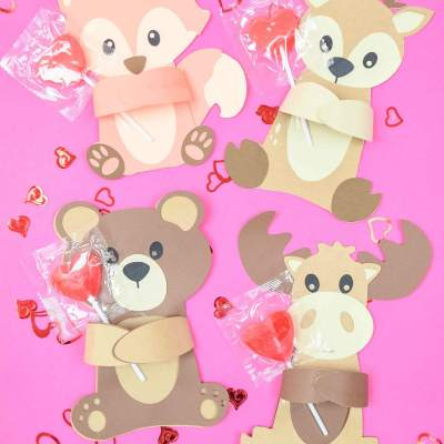 Woodland Animal Valentine's Huggers – Free SVG Cut Files & Printables