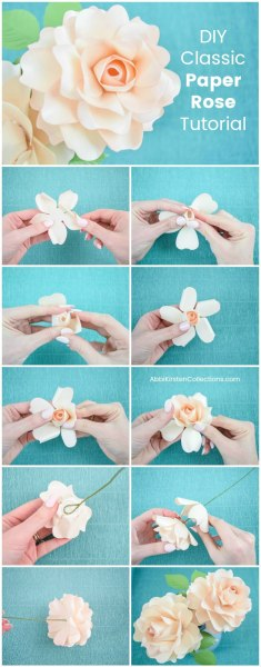 DIY classic paper rose tutorial. Paper rose SVG cut files and PDF printables to create your own!