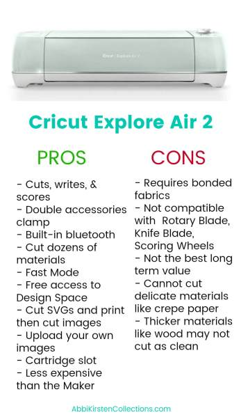 What are the pros and cons of buying a Cricut Explore Air 2?