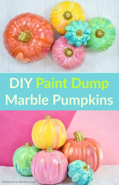 Easy Painted Halloween Pumpkins for Fall: Colroful kid friendly paint dump pumpkin craft. Turn any faux pumpkins into a painted masterpiece for Halloween or Autumn decor.