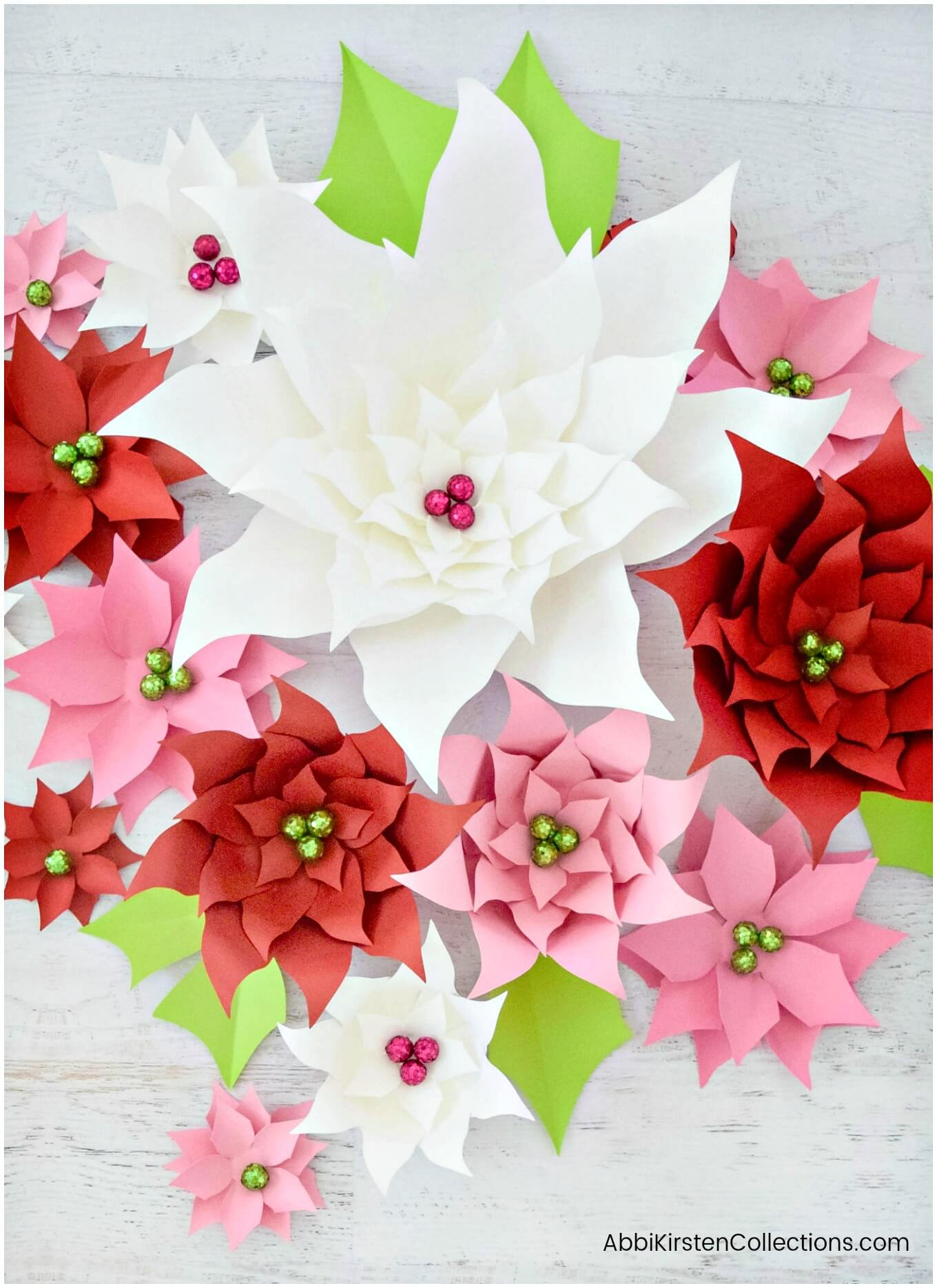 Make Paper Poinsettia Flowers For Christmas Decor Templates