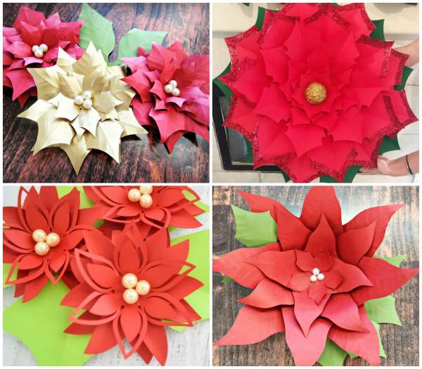 Large and small paper flower poinsettias for Christmas decor