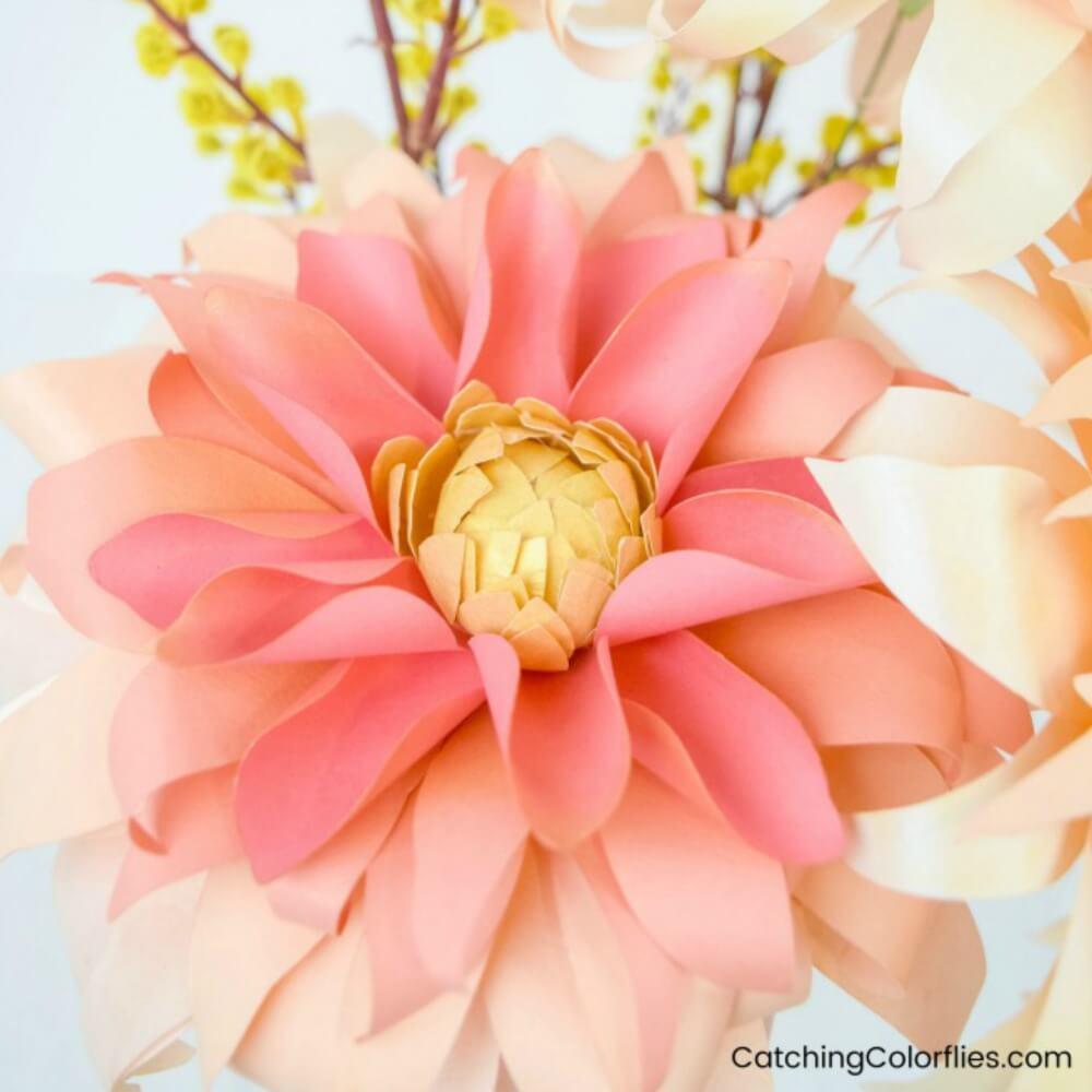 Autumn Sunburst Dahlia Paper Flower Template and Tutorial