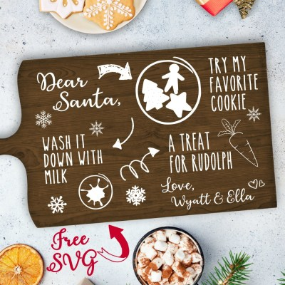 Personalized Cookies for Santa Tray: Cookies for Santa Tray Free SVG Cut File