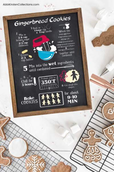 DIY Christmas Wood Signs with VInyl: Make your own custom recipe sign as a Christmas gift or special decoration. Free recipe SVG Files for Cricut or Silhouette